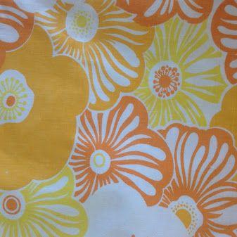 #Funky #Retro #Fabric original #Vintage #material. #Large #block #printed…