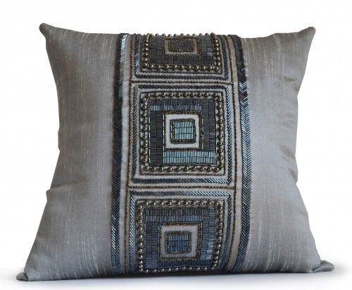 Throw pillow cover in grey dupioni art silk with handmade geometric pattern to create a unique designer color block. This detailed hand embroidered embellished pillow is a statement piece that makes g