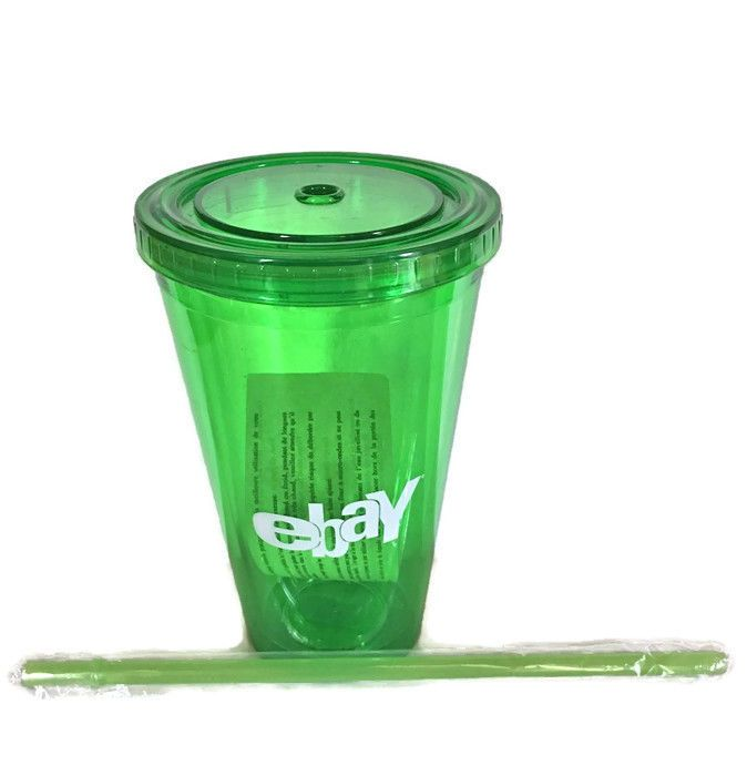 eBay Plastic Cup with Straw for Cold Drinks 16 oz. Old Logo Green eBayana
