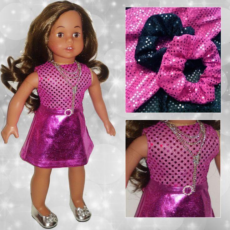 """Vestito fuxia per American Girl Doll 18""""//outfits//cintura fibbia strass//paillettes/lycra//ag dolls//elegante//collana//(4 pezzi) di RobysDollsFashion su Etsy"""
