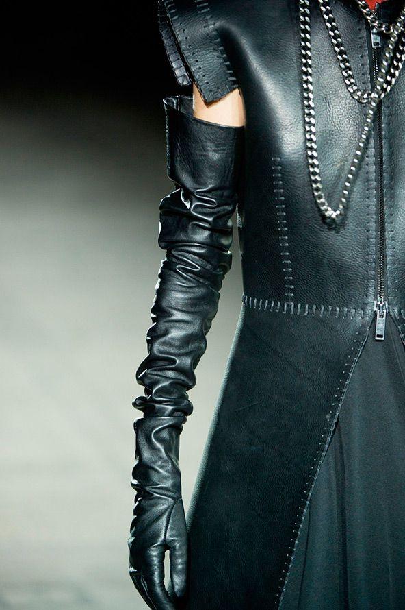 Длинные кожаные перчатки | перчатки | Перчатки, Стиль ...