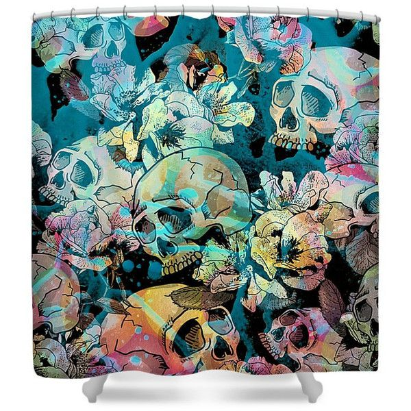 Shower Curtain Sugar Skull Calavera Floral Abstract in Teal ($60) ❤ liked on Polyvore featuring home, bed & bath, bath, shower curtains, bathroom, grey, home & living, shower curtains & rings, teal shower curtains and flowered shower curtains