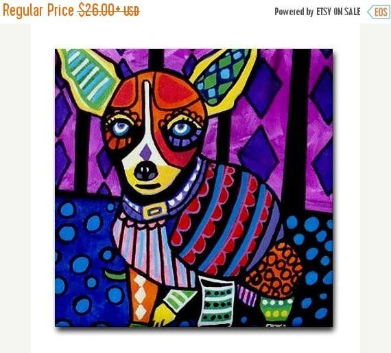 Ceramic Tile  Chihuahua Art Dog Modern Abstract Print on Coaster  Blue Purple Orange Green Red Colorful FLASH SALE