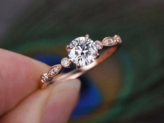 6.5mm Round Shaped Cut Moissanite Ring,Moissanite Engagement Ring,Diamond Wedding Band,Solid 14K Ros