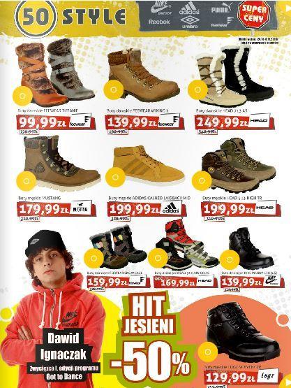 Bez porządnych butów trudno przejść pieszo przez jesień, o zimie nie wspominając ;). Polecamy zajrzeć do gazetki 50 Style, znajdziecie tam duży wybór solidnego obuwia. http://www.promocyjni.pl/gazetki/11608-hit-jesieni-50--gazetka-promocyjna