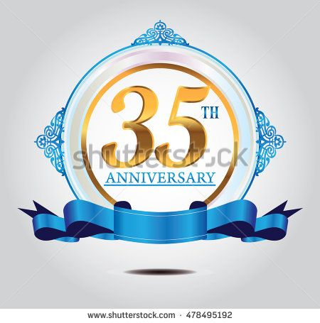 35th anniversary golden logo with soft blue ring ornament and blue ribbon
