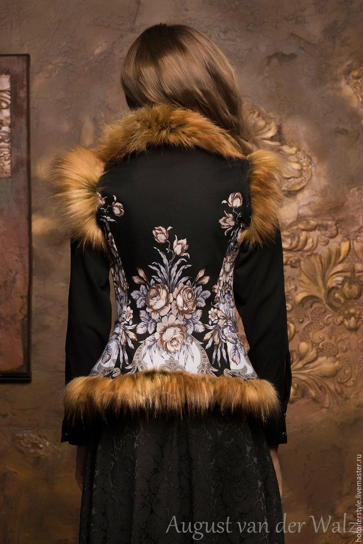 Купить Жилетка с мехом в Русском стиле - цветочный, платье из платка, макси платье, модное платье
