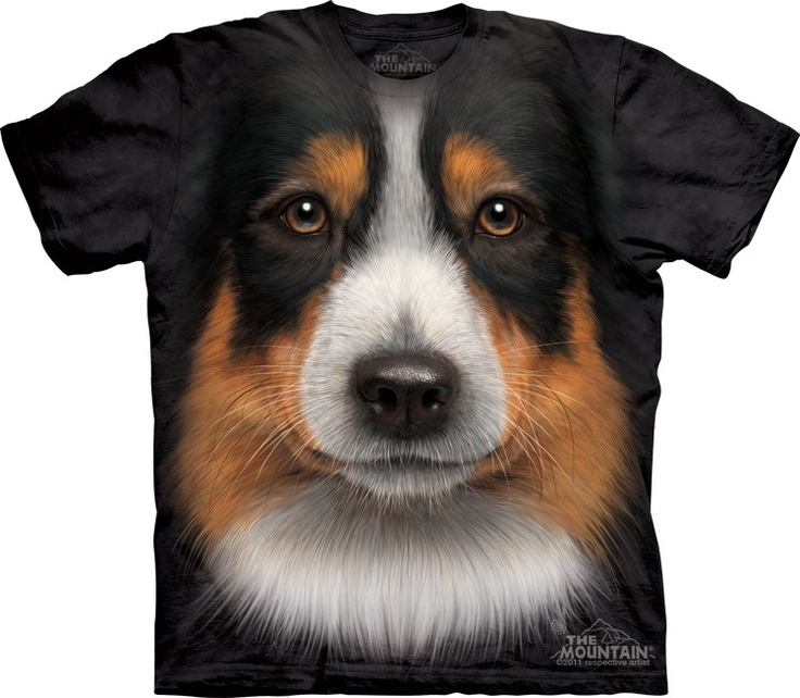 Big face australian shepherd face t-shirt by the mountain @ Epic-Shirts.com - Available at website