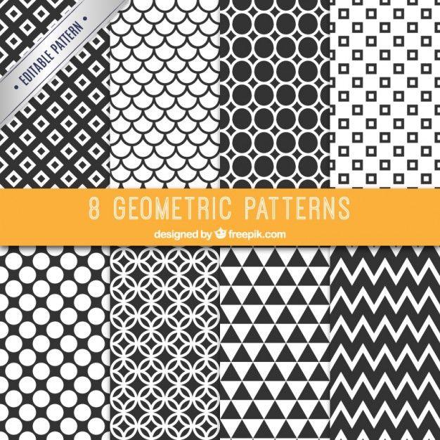 Coleção de testes padrões preto e branco