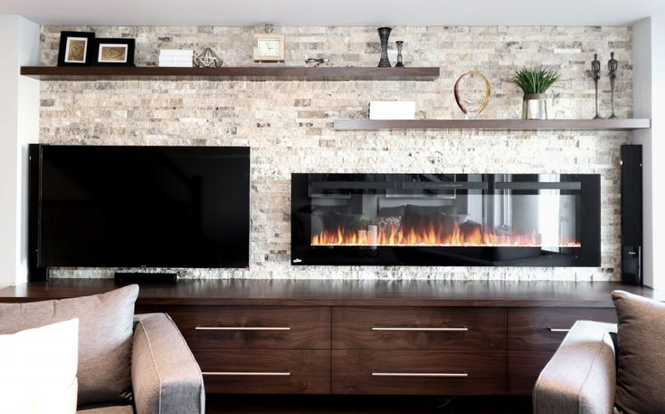 Electric fireplace and TV feature wall.