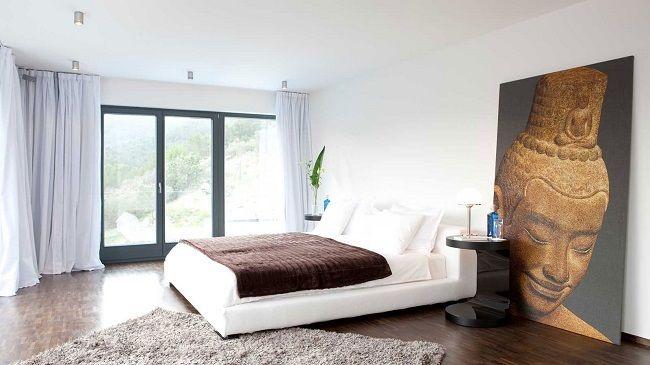 5-dormitor minimalist de inspiratie asiatica cu peretii zugraviti in alb