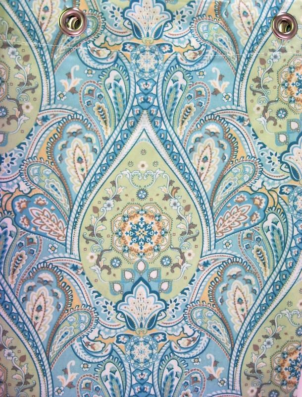 details about parc b smith watershed fabric shower curtain paisley seafoam aqua new