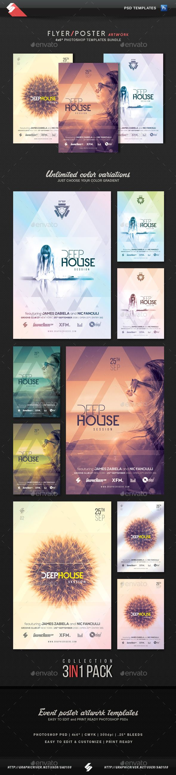 Deep House Session - Event Flyer Template #design Download: http://graphicriver.net/item/deep-house-session-event-flyer-templates-bundle/12470212?ref=ksioks