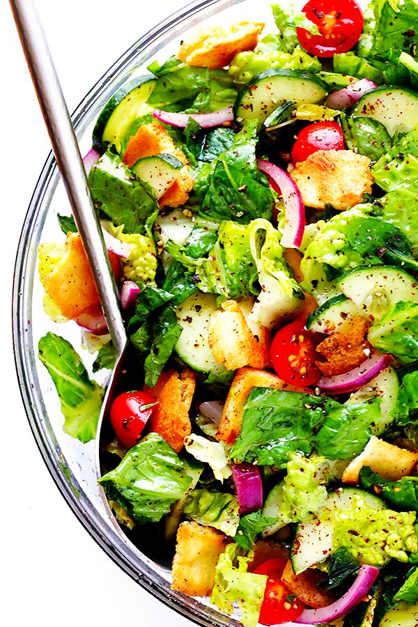 This Lebanese Fattoush Salad recipe is a delicious combination of fresh veggies, a bright citrus dressing, flavorful herbs and toasted pita bread.