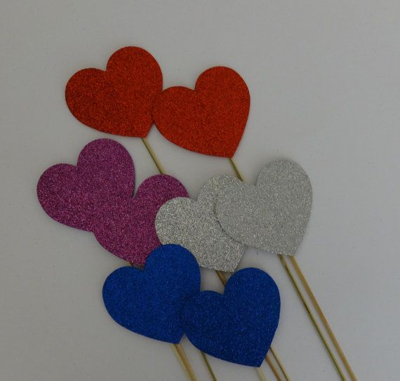 12 pc Photo Booth Prop  Hearts on a stick Red by weddingphotobooth, $19.99