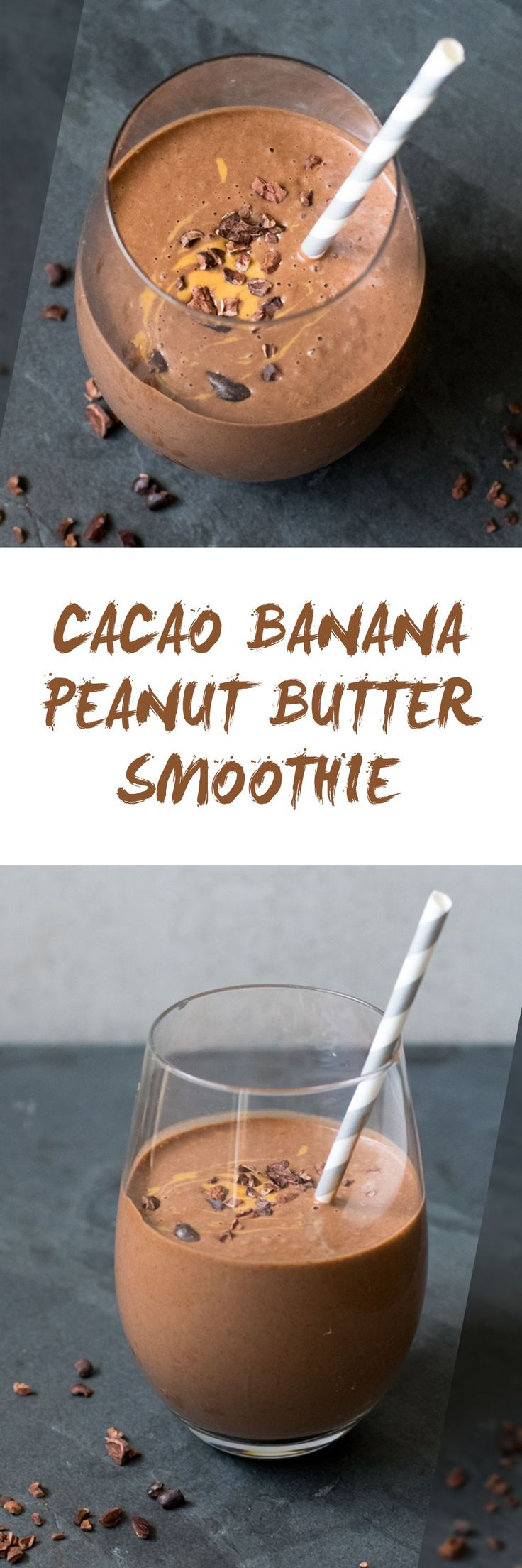 This thick and creamy Cacao Banana Peanut Butter Smoothie is made with nutrient dense cacao nibs and cacao powder. Perfect for breakfast or anytime of day!