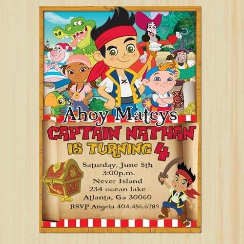 125 best jake and the neverland pirates party ideas images on, Invitation templates