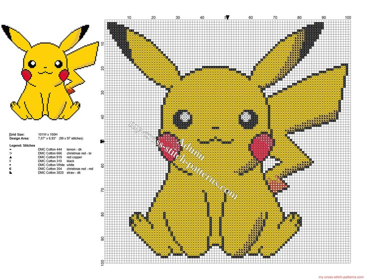 Pikachu Pokemon free small and simple cross stitch pattern