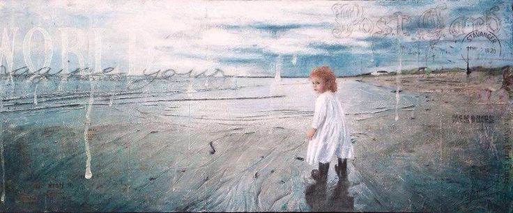 - imagine your world -   Mixed media photo art canvas 40x100 cm  © Ingvild Bolme  Based on a photography if my daughter when she was less the 2 years old.