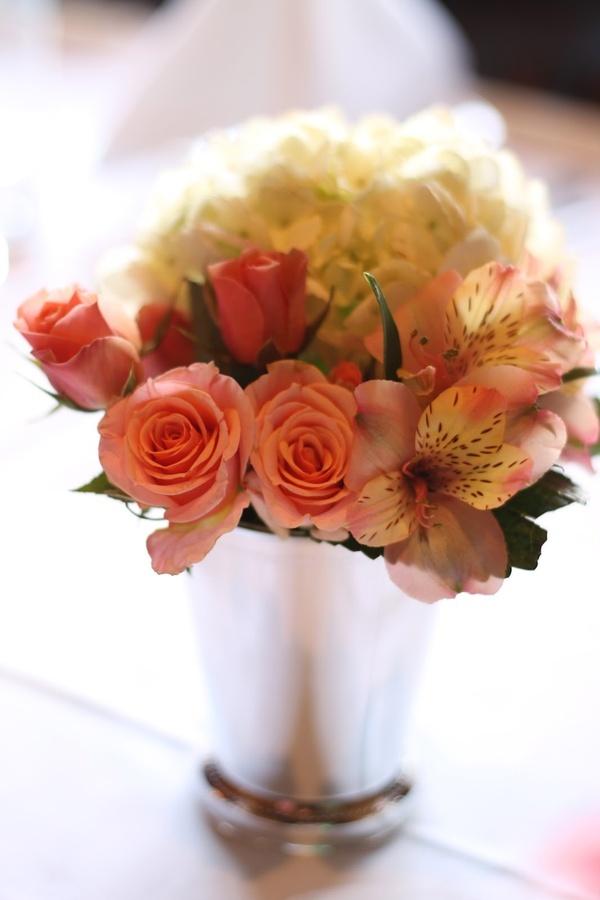 Coral Hydrangea Centerpiece : Best images about brooke c s wedding on pinterest