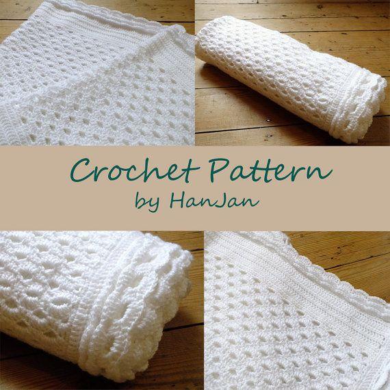 Instant Download PDF Crochet Pattern: White Shell Lace Baby Blanket, Afghan, Shawl, Wrap, US instructions HanJan crochet tutorial