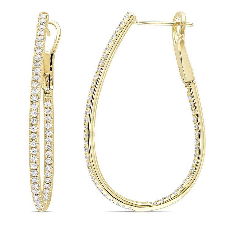 Allurez 14kt White Gold Multi-coloured Sapphire & Diamond Hoop Earrings li8AakuMS