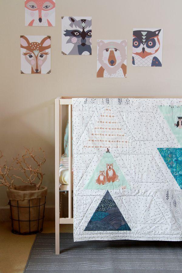 "Make the cutest quilt with this ""Hello, Bear"" Fabrics ready-to-make kit! #ArtGalleryFabrics #Sew #Stitch #Thread #Kit #DIY #Design #Craft #HowTo #Makeit #Quilt #Fashion"