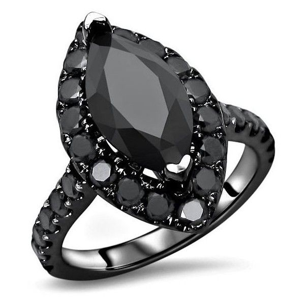 2.80ct Black Marquise Diamond Halo Engagement Ring 14k Black Gold (9.495 HRK) ❤ liked on Polyvore featuring jewelry, rings, gold ring, round engagement rings, 14k gold jewelry, gold jewelry and gold jewellery