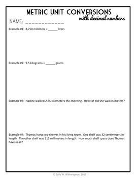 Converting Metric Units of Measurement with Decimal Numbers Lesson Packet