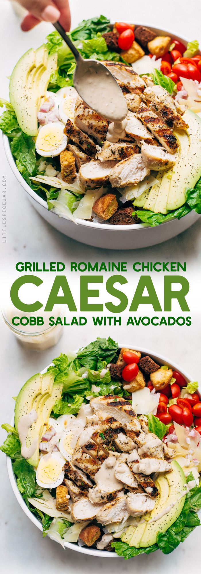 Grilled Romaine Chicken Caesar Cobb Salad - This salad combines all the things you love about a Cobb salad and all the things you love about a caesar salad! We're grilling the chicken and the romaine for more added flavor! #caesarsalad #caesarcobbsalad #cobbsalad #salad | LIttlespicejar.com