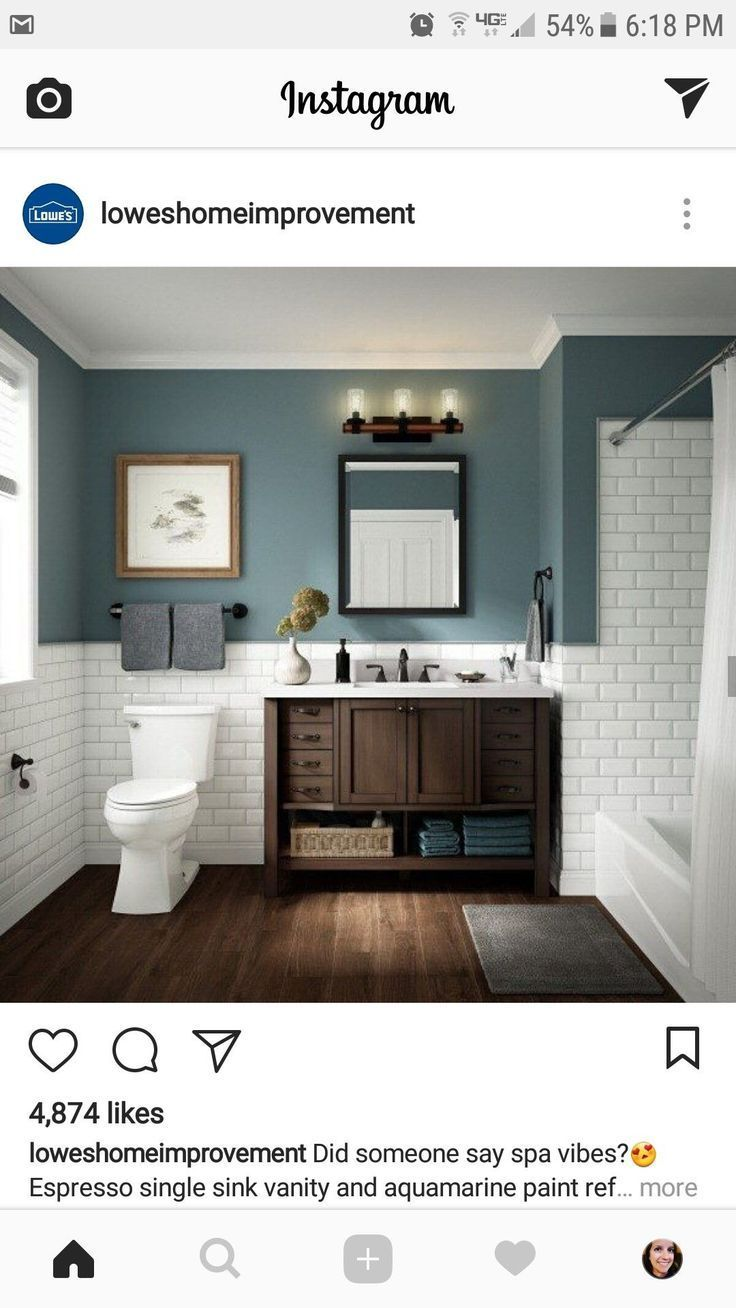Dark Wood With White Paint Halfway Up The Wall Could Be Too Dark Dark Halfway Paint Wall Wh In 2020 Trendy Bathroom Bathrooms Remodel Bathroom Interior Design