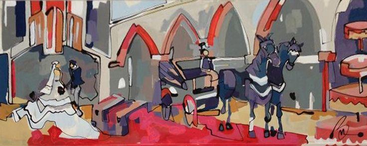 Schilderij is live gemaakt op de bruiloft van Ellen en Stefano.     Kunstschilder Marieke schildert live op uw bruiloft. Ze start met een leeg doek, snuift wat impressies op en zet het schilderij op met snelle vegen. Het schilderij wordt na afloop overhandigd aan het bruidspaar.