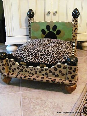 Doggie bed made from a thrifted end table: Dogs, Pet Beds, Dog Beds, Lucy Designs, End Tables, Endtables, Leopard Prints, Leopard Dog, Animal