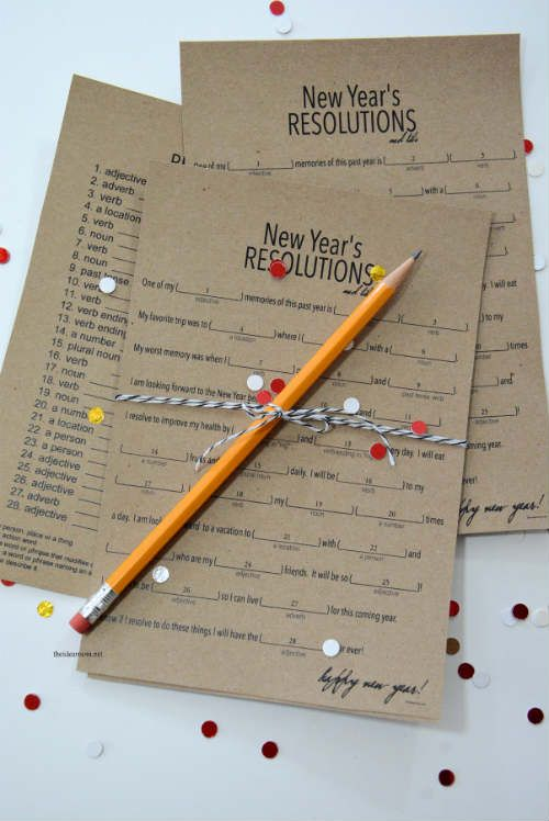 New Years Resolutions Mad Libs (Free Printables)