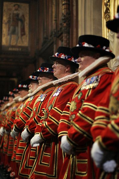 """The Yeomen of the Guard, the oldest of the royal bodyguards known as """"Beefeaters"""""""