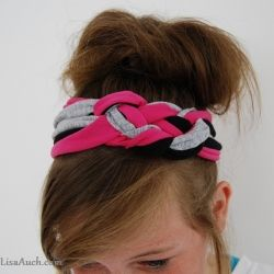 We love making these fashionable knotted headbands from our old t shirts! It is so easy. We also got a bit carried away with our creative side also making a gorgeous plaited headband with fabric flower, and a headband made from an old pair of denims using...