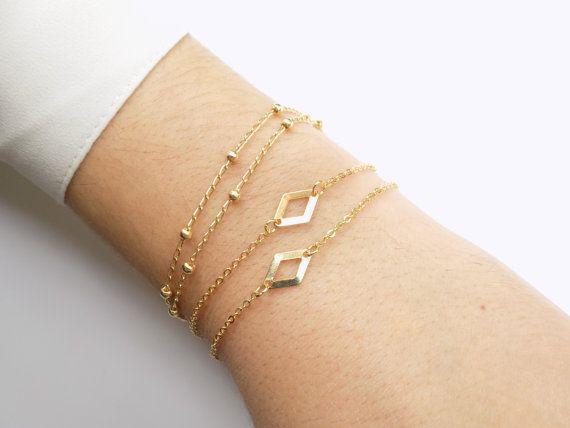 Rhombus Bracelet Gold Filled Geometric Bracelet by ArroseJewelry