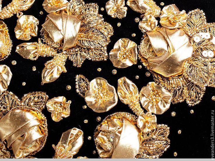 Купить SALE Корсет с вышивкой золотые розы - корсет, бархатный корсет, корсет с вишивкой