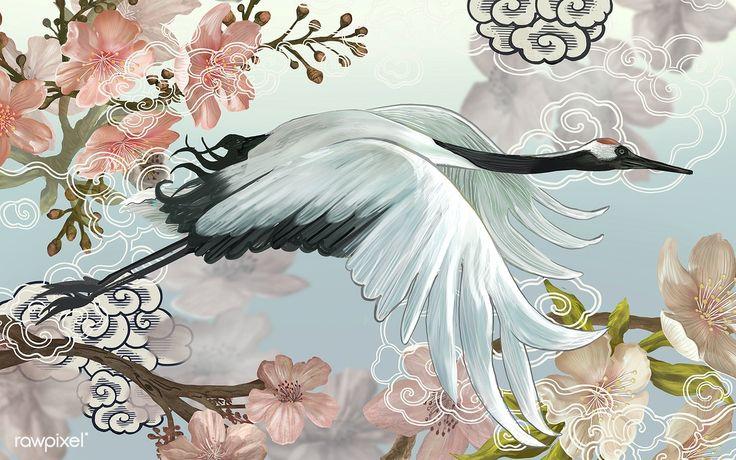 Flying elegant white japanese crane premium image by