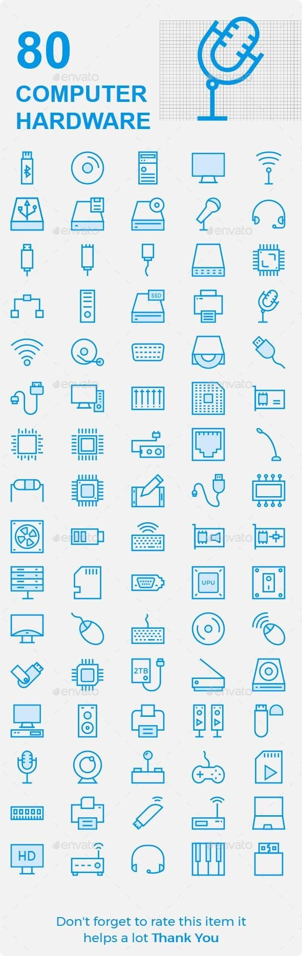 Computer Hardware Cute Icons – Envato #icon #GraphicDesign #design #technology #BestDesignResources