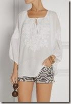Melissa Odabash White Voile Peasant Blouse