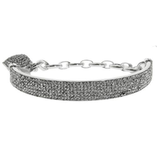Ladies Half Cuff Bracelet with Brilliant White Crystals in Sterling Silver with Dangling Heart Metro Jewelry. $172.99. Light Weight. Brilliant Round White Crystals. Half Cuff Bracelet. Save 60%!