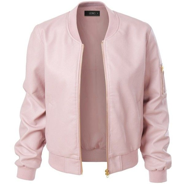 LE3NO Womens Lightweight Faux Leather Varsity Bomber Jacket (353.860 IDR) ❤ liked on Polyvore featuring outerwear, jackets, pink jacket, pink letterman jacket, light weight jacket, faux leather bomber jacket and bomber jacket