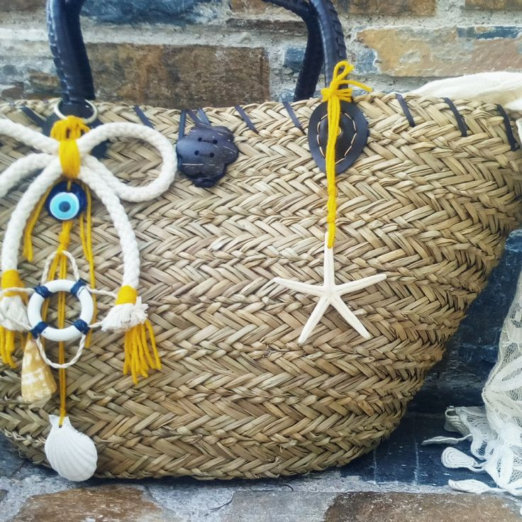 Treasures  of the sea  in a straw bag