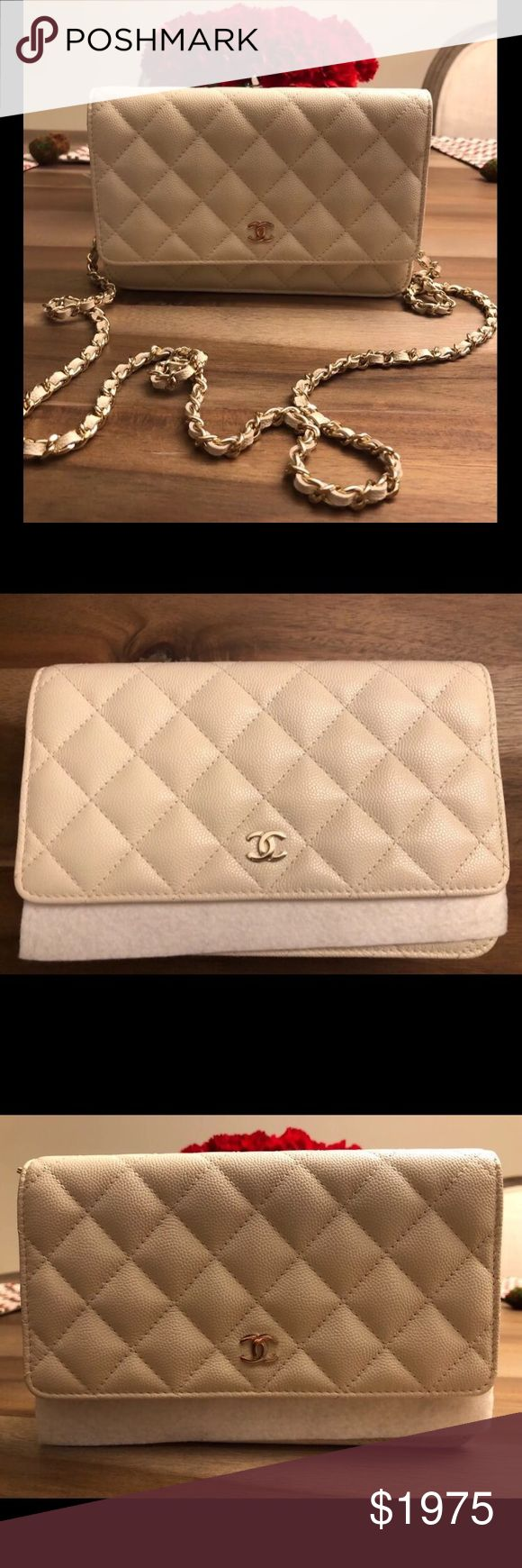 """CHANEL CAVIAR WALLET ON CHAIN WOC WHITE GOLD HW CHANEL CAVIAR LEATHER WALLET ON CHAIN WOC WHITE WITH GOLD HARDWARE   MEASURES: 7.5""""L x 5""""H x 2""""D STRAP DROP: 24""""  New Condition; Bag comes in original packaging with box, dustbag, and authenticity card.   NO TRADES.  PRICE ON POSH IS FIRM.  SERIOUS BUYERS ONLY!!! CHANEL Bags Crossbody Bags"""