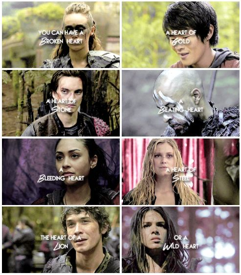 But at the end of the day, after the fight, after the pain, our hearts still beat at the same rate. || The 100 || Lexa, Monty Green, John Murphy, Lincoln, Raven Reyes, Clarke Griffin, Bellamy Blake, Octavia Blake || Alycia Debnam-Carey, Christopher Larkin, Richard Harmon, Ricky Whittle, Lindsey Morgan, Eliza Jane Taylor, Bob Morley, Marie Avgeropoulos