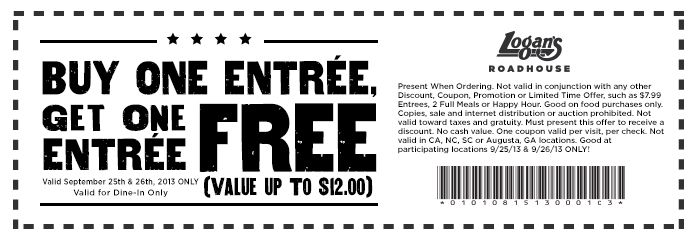 Pinned September 26th: Second entree free at #Logans Roadhouse #coupon via The Coupons App