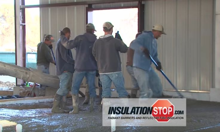 Guess what's underneath those four guys and wet cement? That's right—a layer of InfraStop® insulation. It's strong enough to take the weight and the concrete curing process without tearing. http://www.insulationstop.com/concrete-slab-radiant-heat-insulation