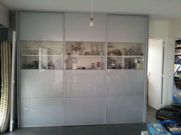 dressing vaisselier façade coulissante avec verre transparent et verre laqué