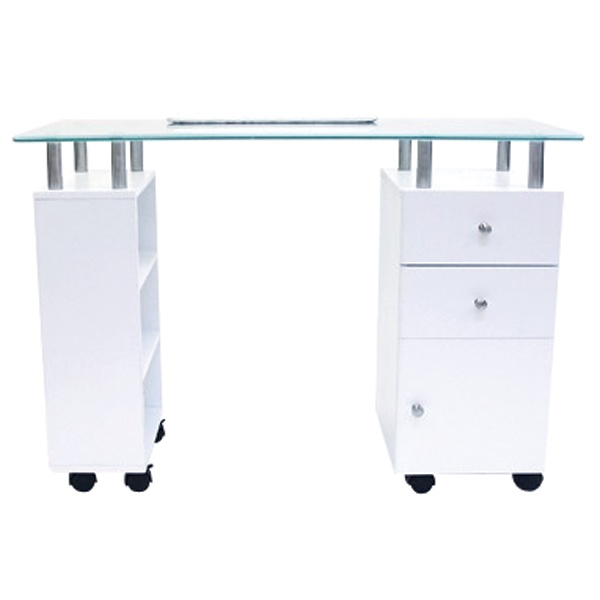 J manicure table white with glass top the industry for Small manicure table